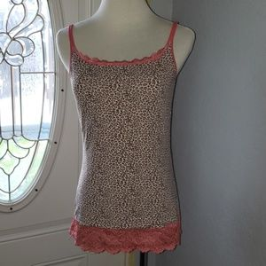 Sweet Nothings Coral Tan Leopard Lace Shaping Cami